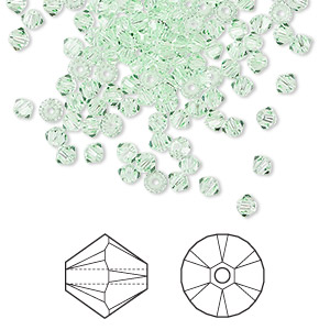 bead, swarovski crystals, chrysolite, 3mm xilion bicone (5328). sold per pkg of 144 (1 gross).