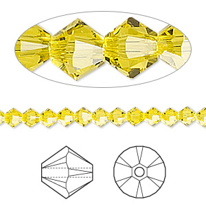 bead, swarovski crystals, citrine, 4mm xilion bicone (5328). sold per pkg of 1,440 (10 gross).