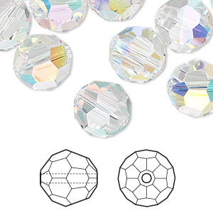 bead, swarovski crystals, crystal ab, 12mm faceted round (5000). sold per pkg of 72.