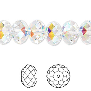 bead, swarovski crystals, crystal ab, 12x8mm faceted rondelle (5040). sold per pkg of 144 (1 gross).