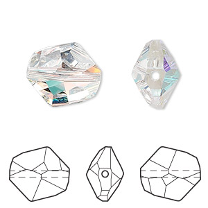 bead, swarovski crystals, crystal ab, 16x14mm faceted cosmic (5523). sold per pkg of 72.