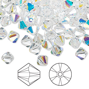 bead, swarovski crystals, crystal ab, 6mm xilion bicone (5328). sold per pkg of 360.
