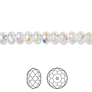 bead, swarovski crystals, crystal ab, 6x4mm faceted rondelle (5040). sold per pkg of 360.