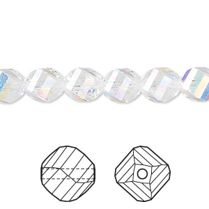 bead, swarovski crystals, crystal ab, 8mm faceted helix (5020). sold per pkg of 12.