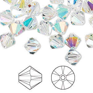 bead, swarovski crystals, crystal ab, 8mm xilion bicone (5328). sold per pkg of 288 (2 gross).