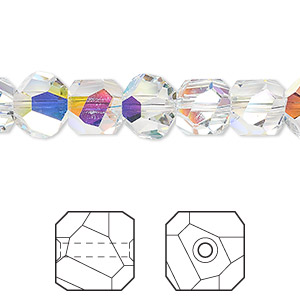 bead, swarovski crystals, crystal ab, 8x8mm faceted graphic cube (5603). sold per pkg of 48.