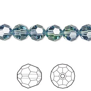 bead, swarovski crystals, crystal blend colors, crystal passions, provence lavender and chrysolite, 8mm faceted round (5000). sold per pkg of 144 (1 gross).