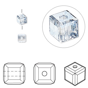 bead, swarovski crystals, crystal blue shade, 4x4mm faceted cube (5601). sold per pkg of 288 (2 gross).
