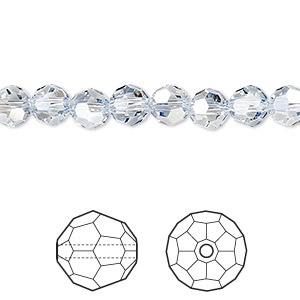 bead, swarovski crystals, crystal blue shade, 6mm faceted round (5000). sold per pkg of 360.