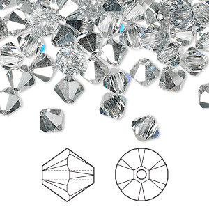 bead, swarovski crystals, crystal cal, 6mm xilion bicone (5328). sold per pkg of 360.