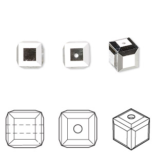 bead, swarovski crystals, crystal cal, 8mm faceted cube (5601). sold per pkg of 96.