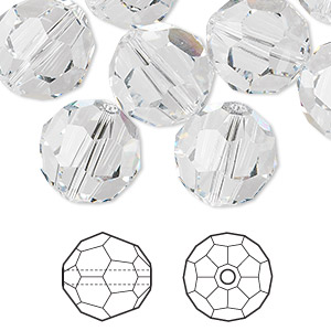 bead, swarovski crystals, crystal clear, 14mm faceted round (5000). sold per pkg of 24.