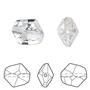 bead, swarovski crystals, crystal clear, 16x14mm faceted cosmic (5523). sold per pkg of 72.