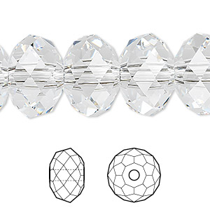 bead, swarovski crystals, crystal clear, 18x12mm faceted rondelle with 3.5mm hole (5041). sold per pkg of 24.