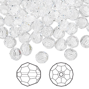 bead, swarovski crystals, crystal clear, 6mm faceted round (5000). sold per pkg of 360.