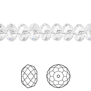 bead, swarovski crystals, crystal clear, 8x6mm faceted rondelle (5040). sold per pkg of 288 (2 gross).