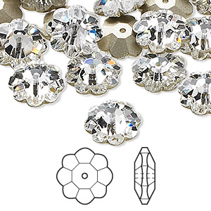 bead, swarovski crystals, crystal clear, foil back, 12x4mm faceted marguerite lochrose flower (3700). sold per pkg of 144 (1 gross).