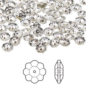 bead, swarovski crystals, crystal clear, foil back, 6x2mm faceted marguerite lochrose flower (3700). sold per pkg of 720 (5 gross).