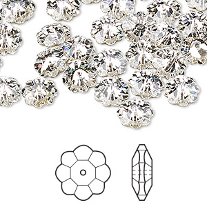 bead, swarovski crystals, crystal clear, foil back, 8x3mm faceted marguerite lochrose flower (3700). sold per pkg of 288 (2 gross).
