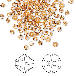 bead, swarovski crystals, crystal copper, 3mm xilion bicone (5328). sold per pkg of 1,440 (10 gross).