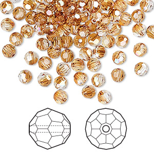 bead, swarovski crystals, crystal copper, 4mm faceted round (5000). sold per pkg of 720 (5 gross).