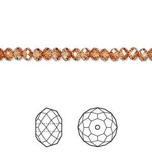bead, swarovski crystals, crystal copper, 4x3mm faceted rondelle (5040). sold per pkg of 720 (5 gross).