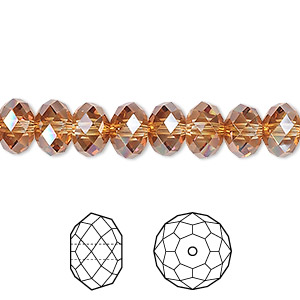 bead, swarovski crystals, crystal copper, 8x6mm faceted rondelle (5040). sold per pkg of 288 (2 gross).