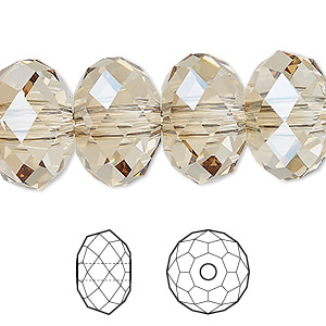bead, swarovski crystals, crystal golden shadow, 18x12mm faceted rondelle with 3.5mm hole (5041). sold per pkg of 24.