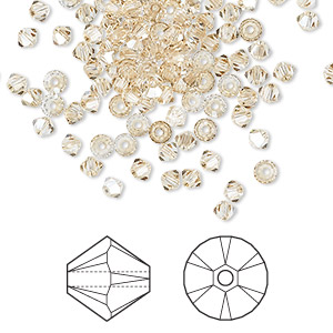 bead, swarovski crystals, crystal golden shadow, 3mm xilion bicone (5328). sold per pkg of 1,440 (10 gross).