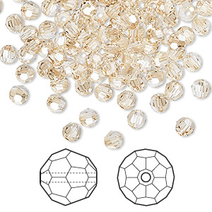 bead, swarovski crystals, crystal golden shadow, 4mm faceted round (5000). sold per pkg of 720 (5 gross).