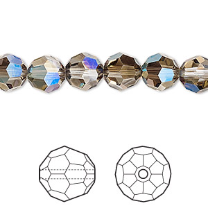 bead, swarovski crystals, crystal iridescent green, 8mm faceted round (5000). sold per pkg of 288 (2 gross).