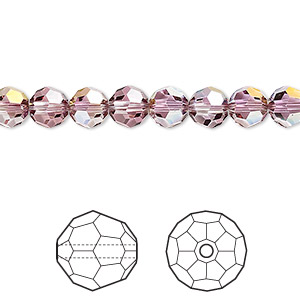 bead, swarovski crystals, crystal lilac shadow, 6mm faceted round (5000). sold per pkg of 360.