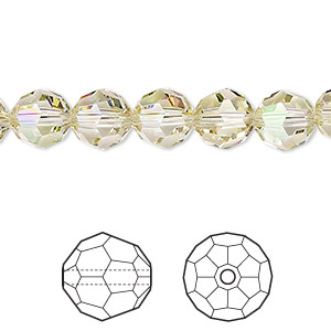 bead, swarovski crystals, crystal luminous green, 8mm faceted round (5000). sold per pkg of 288 (2 gross).