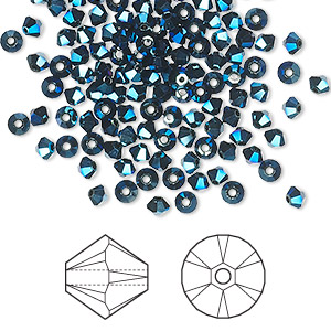 bead, swarovski crystals, crystal metallic blue 2x, 3mm xilion bicone (5328). sold per pkg of 48.