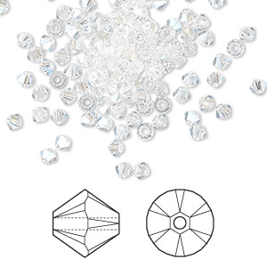 bead, swarovski crystals, crystal moonlight, 3mm xilion bicone (5328). sold per pkg of 144 (1 gross).