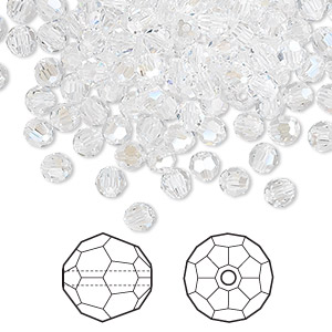 bead, swarovski crystals, crystal moonlight, 4mm faceted round (5000). sold per pkg of 720 (5 gross).