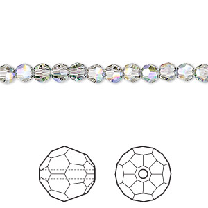 bead, swarovski crystals, crystal paradise shine, 4mm faceted round (5000). sold per pkg of 720 (5 gross).