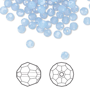 bead, swarovski crystals, crystal passions, air blue opal, 4mm faceted round (5000). sold per pkg of 144 (1 gross).