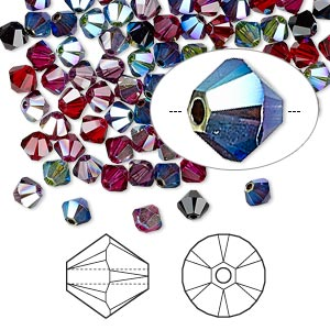 bead, swarovski crystals, crystal passions, alchemy, 4mm xilion bicone (5328). sold per pkg of 144 (1 gross).
