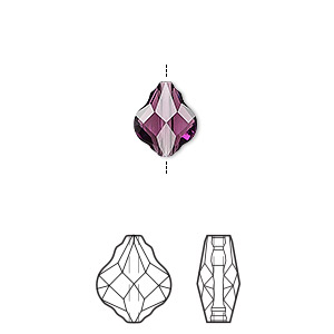 bead, swarovski crystals, crystal passions, amethyst, 10mm faceted baroque (5058). sold per pkg of 2.