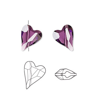 bead, swarovski crystals, crystal passions, amethyst, 12x10mm diagonally drilled faceted wild heart (5743). sold per pkg of 12.