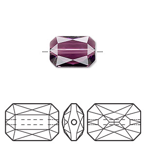 bead, swarovski crystals, crystal passions, amethyst, 14x9.5mm faceted emerald cut (5515). sold individually.
