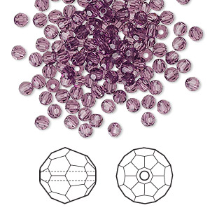 bead, swarovski crystals, crystal passions, amethyst, 3mm faceted round (5000). sold per pkg of 144 (1 gross).