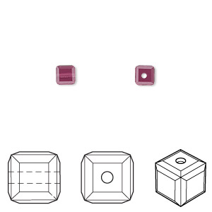 bead, swarovski crystals, crystal passions, amethyst, 4x4mm faceted cube (5601). sold per pkg of 12.