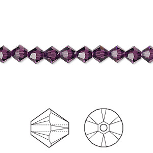 bead, swarovski crystals, crystal passions, amethyst, 5mm xilion bicone (5328). sold per pkg of 24.