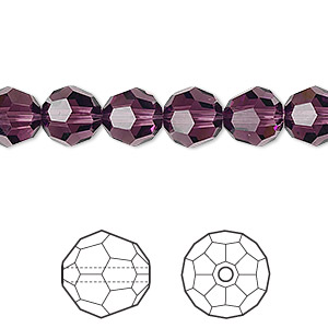 bead, swarovski crystals, crystal passions, amethyst, 8mm faceted round (5000). sold per pkg of 12.