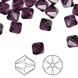 bead, swarovski crystals, crystal passions, amethyst, 8mm xilion bicone (5328). sold per pkg of 72.