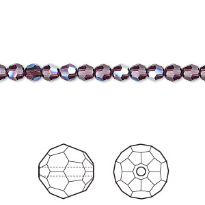 bead, swarovski crystals, crystal passions, amethyst moonlight, 4mm faceted round with 0.9mm hole (5000). sold per pkg of 144 (1 gross).