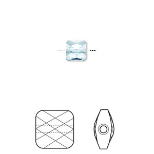 bead, swarovski crystals, crystal passions, aquamarine, 6x6mm faceted mini square (5053). sold per pkg of 2.
