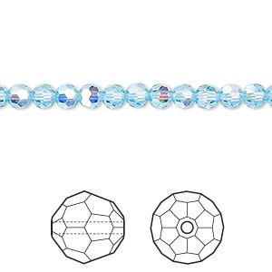 bead, swarovski crystals, crystal passions, aquamarine ab, 4mm faceted round (5000). sold per pkg of 144 (1 gross).